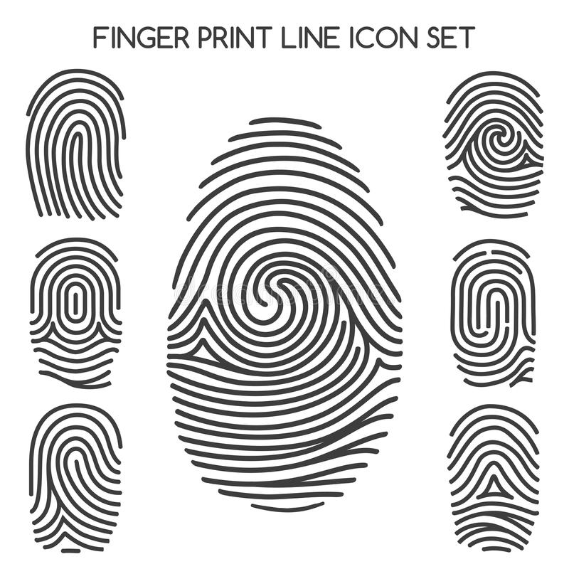 Línea iconos de la huella dactilar ilustración del vector