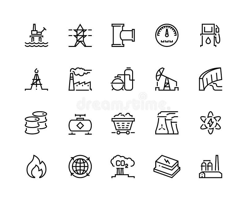 Línea iconos de la industria pesada Barril eléctrico nuclear de la refinería del combustible de la estación de la producción del  stock de ilustración
