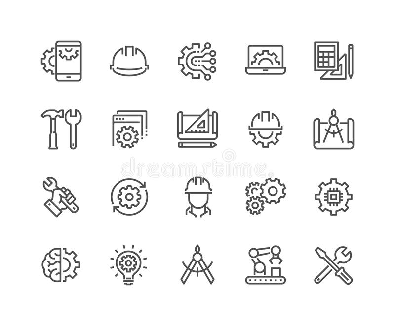 Línea iconos de la ingeniería ilustración del vector