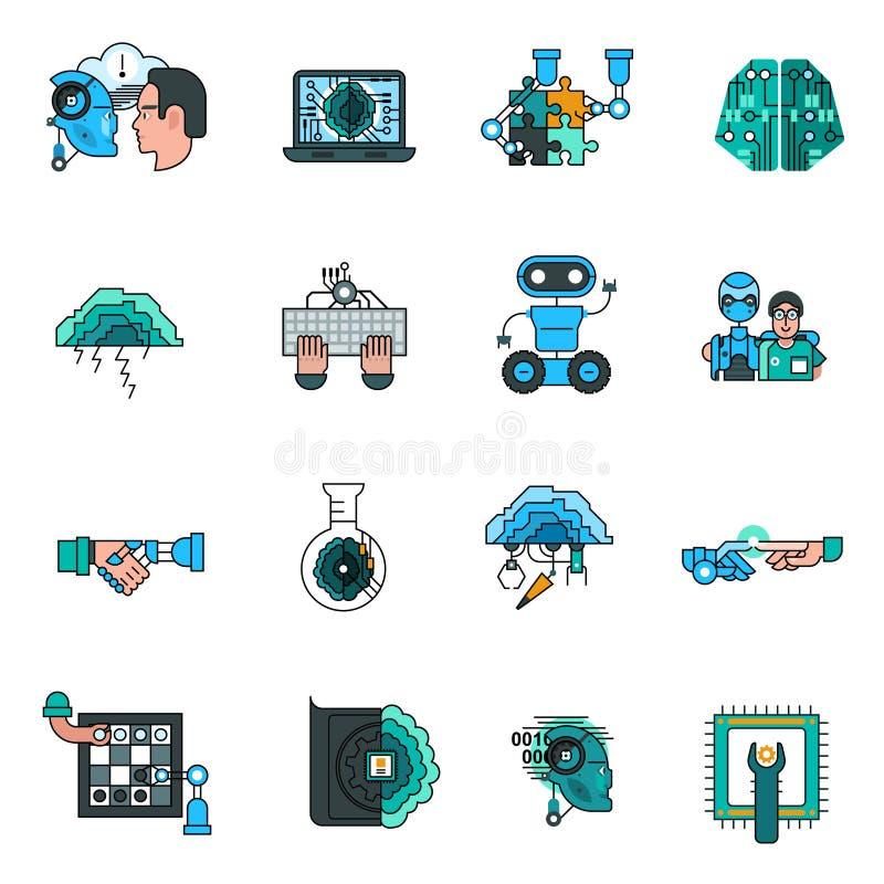 Línea iconos de la inteligencia artificial fijados