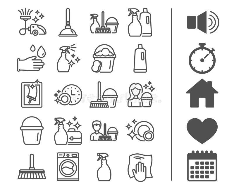Línea iconos de la limpieza Lavadero, esponja y vacío ilustración del vector
