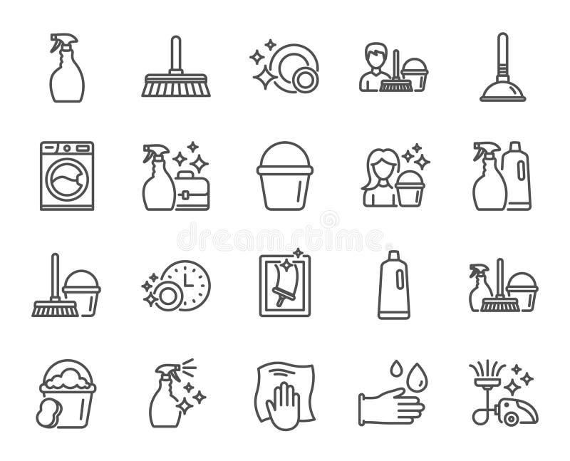 Línea iconos de la limpieza Lavadero, esponja y vacío libre illustration
