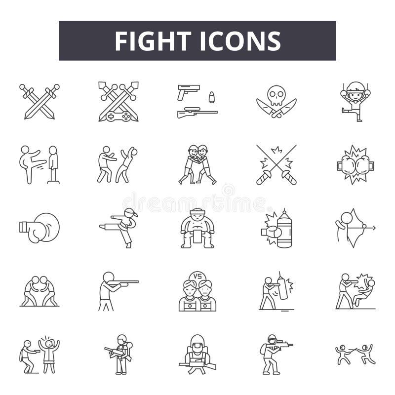 Línea iconos de la lucha para la web y el diseño móvil Muestras Editable del movimiento Ejemplos del concepto del esquema de la l libre illustration