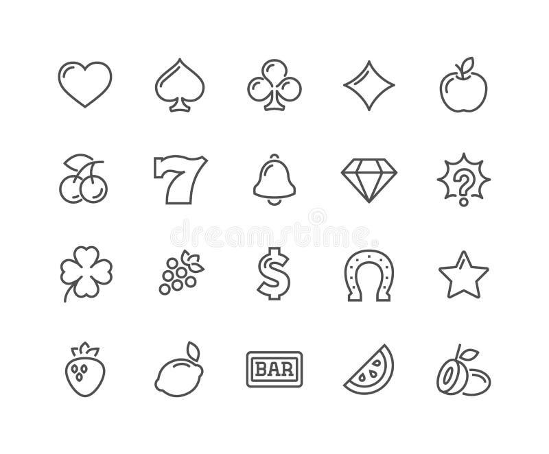 Línea iconos de la máquina tragaperras stock de ilustración