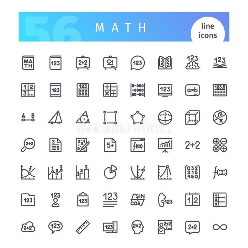 Línea iconos de la matemáticas fijados ilustración del vector