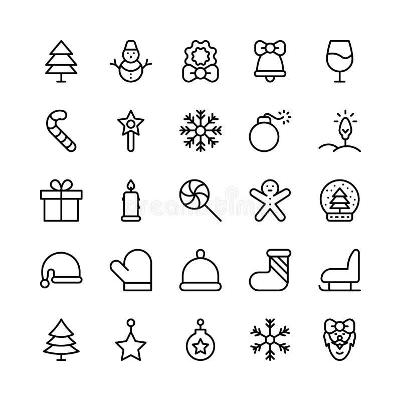 Línea iconos de la Navidad, de Halloween, del partido y de la celebración del vector ilustración del vector