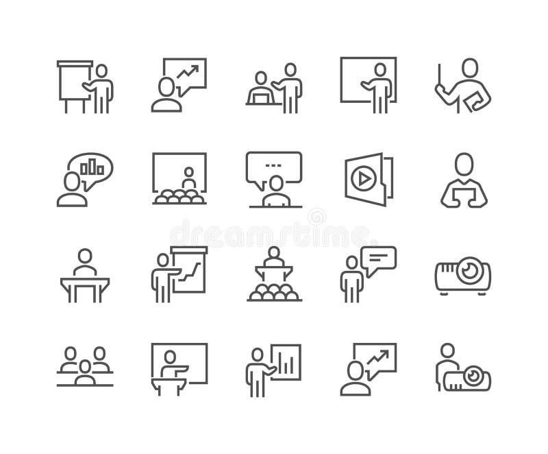 Línea iconos de la presentación del negocio libre illustration