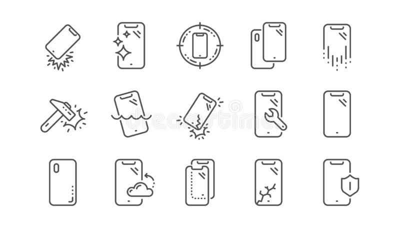 Línea iconos de la protección de Smartphone Vidrio, protector de la pantalla y resistente de agua moderados Sistema linear Vector stock de ilustración