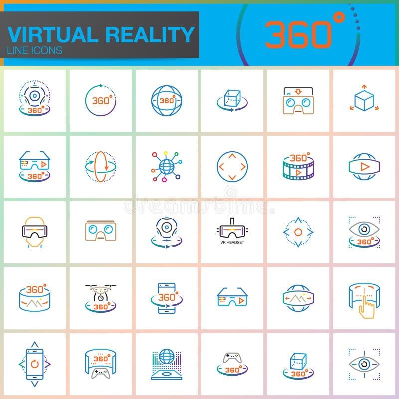 Línea iconos de la realidad virtual fijados Tecnologías de la innovación, vidrios de AR, visualizador en forma de visor, disposit stock de ilustración