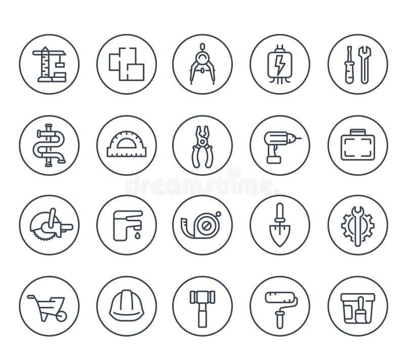 Línea iconos de la renovación de la construcción y de la casa libre illustration