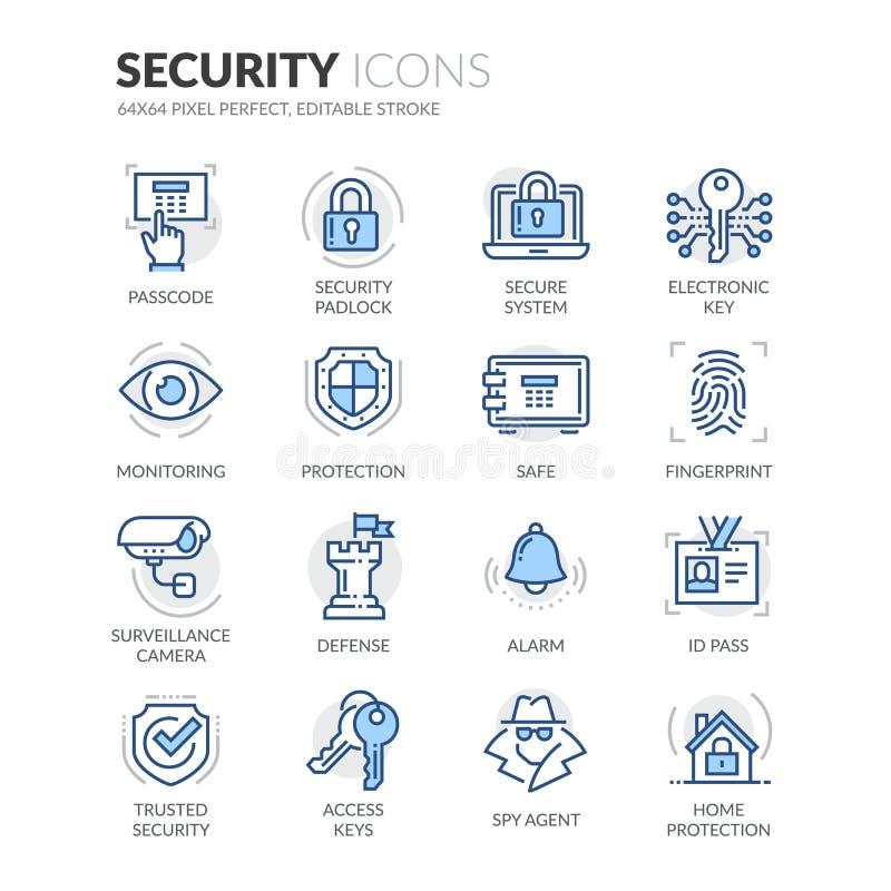 Línea iconos de la seguridad stock de ilustración