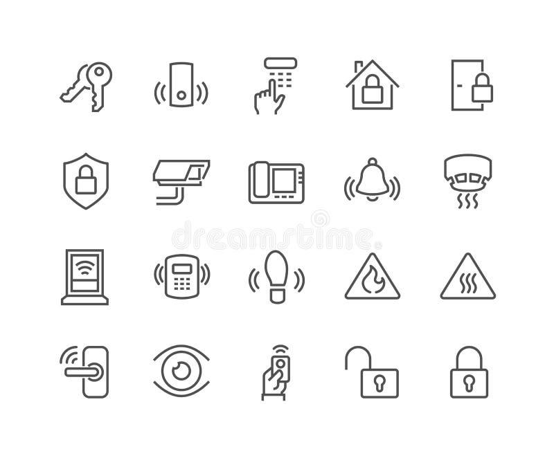 Línea iconos de la seguridad en el hogar stock de ilustración