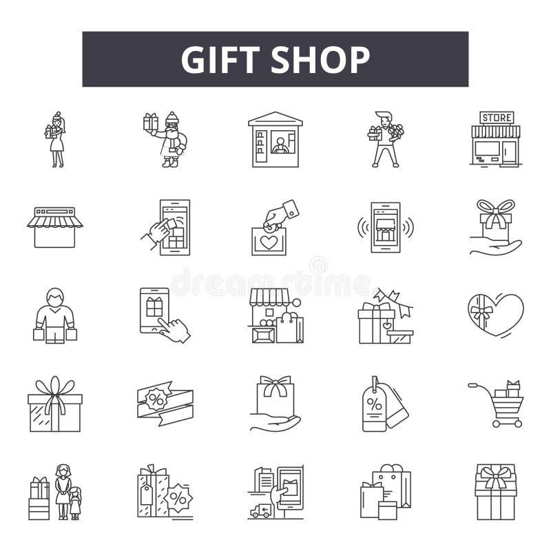 Línea iconos de la tienda de regalos para la web y el diseño móvil Muestras Editable del movimiento Ejemplos del concepto del esq libre illustration