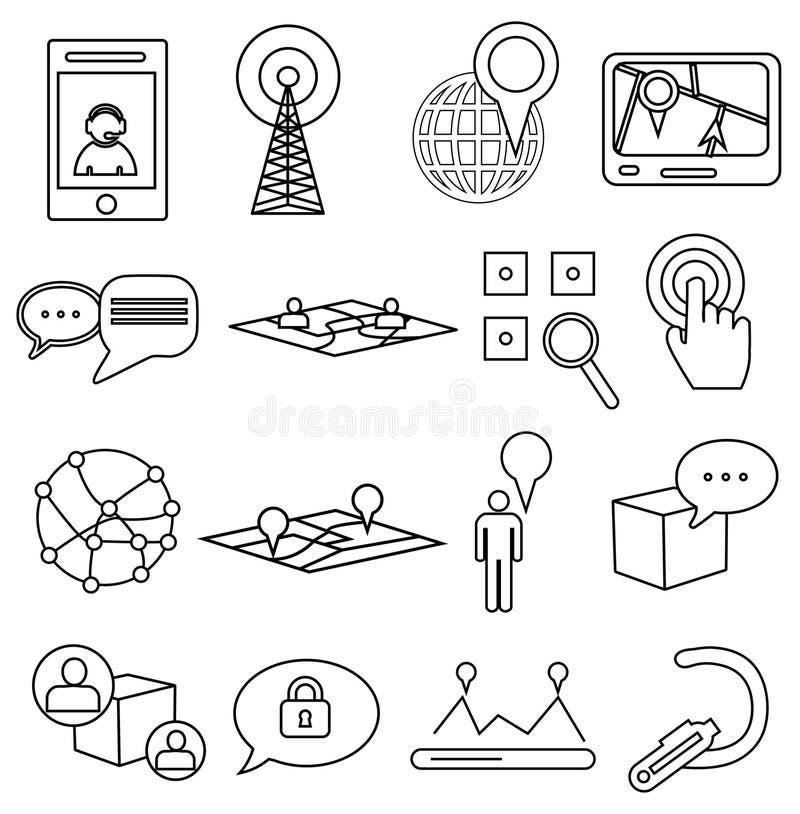 Línea iconos de la ubicación de la navegación del mapa fijados stock de ilustración