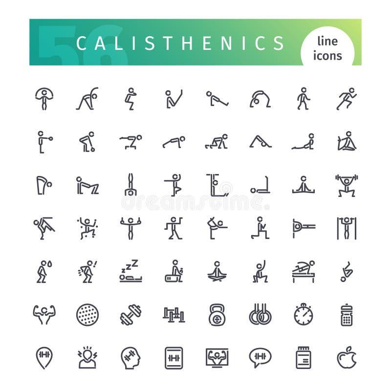 Línea iconos de las calisténica fijados ilustración del vector