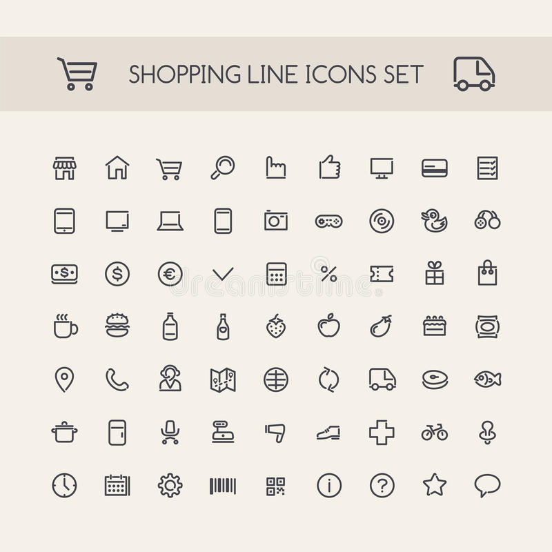 Línea iconos de las compras fijados negros libre illustration