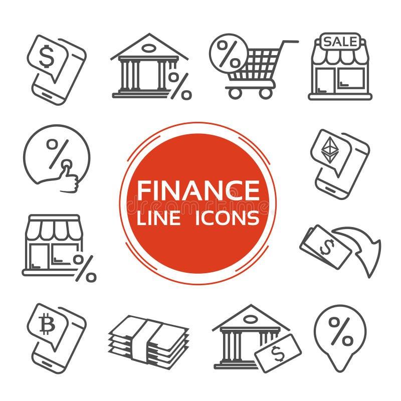 Línea iconos de las finanzas del vector Moneda del dólar, bitcoin, ethereum Símbolo del banco para un préstamo del porcentaje Sím ilustración del vector