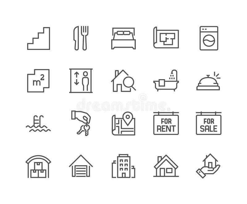 Línea iconos de las propiedades inmobiliarias libre illustration