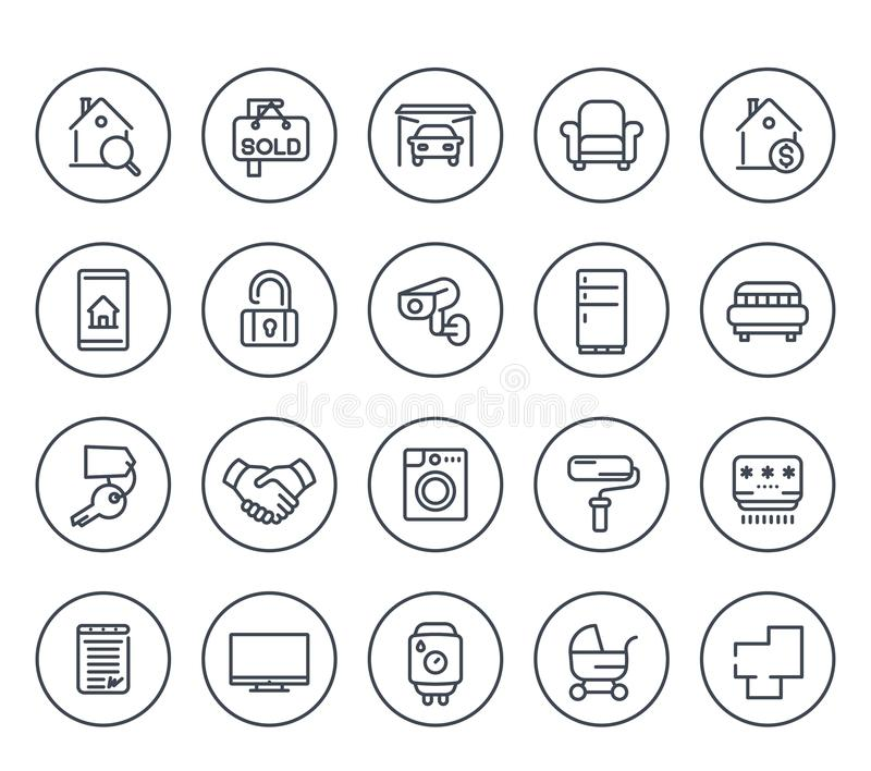 Línea iconos de las propiedades inmobiliarias en blanco ilustración del vector