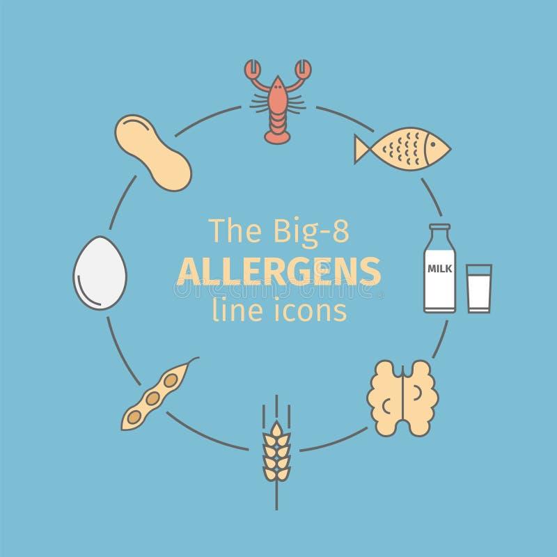 Línea iconos de los alergénicos de la comida Un grupo de las ocho comidas alergénicas principales se refiere a menudo como el Big ilustración del vector