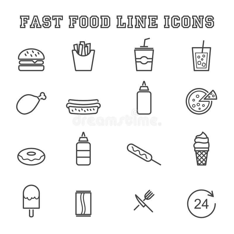Línea iconos de los alimentos de preparación rápida stock de ilustración