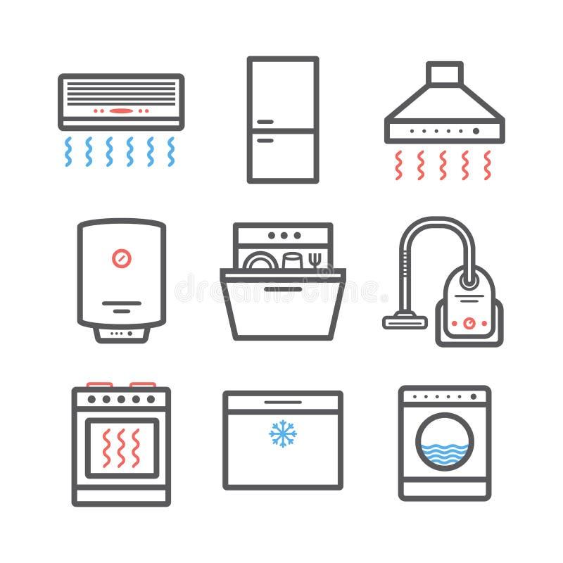 Línea iconos de los dispositivos fijados Muestras del vector para los gráficos del web Infografía stock de ilustración