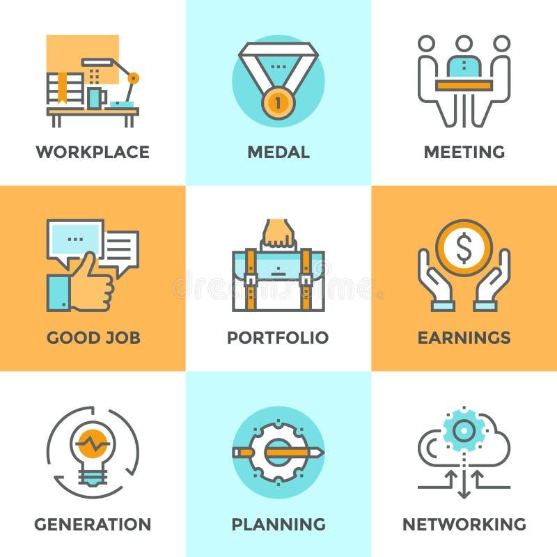 Línea iconos de los elementos del negocio fijados libre illustration