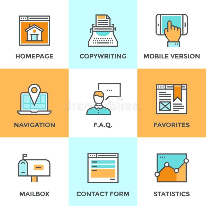 Línea iconos de los elementos del sitio web fijados libre illustration