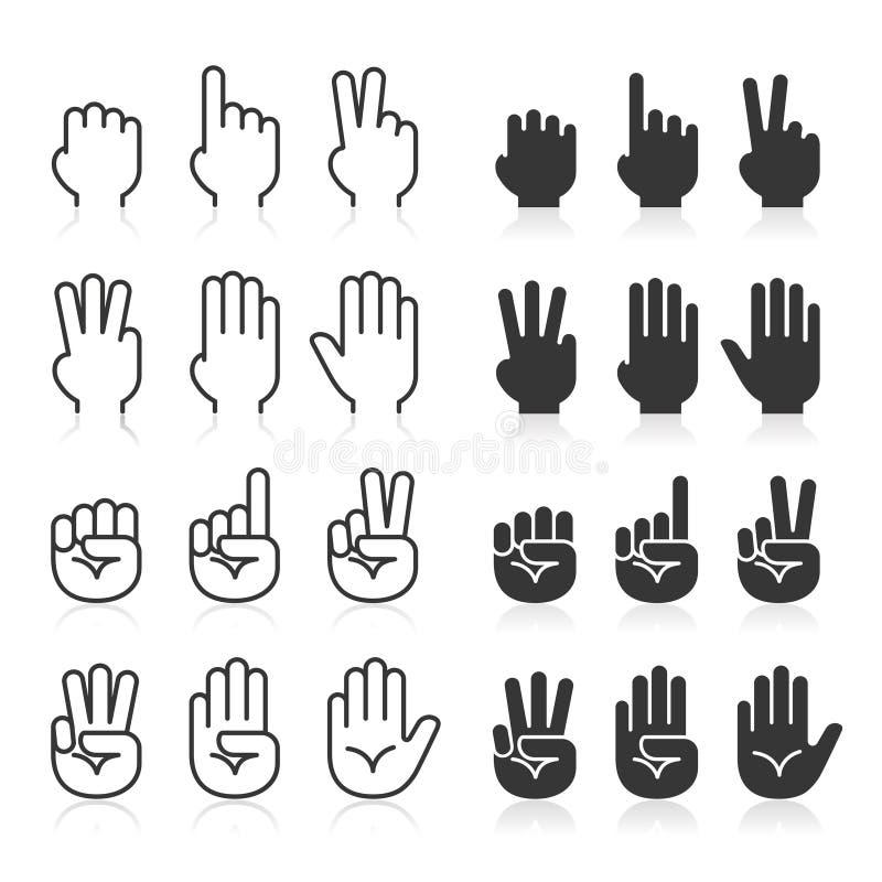 Línea iconos de los gestos de mano fijados stock de ilustración