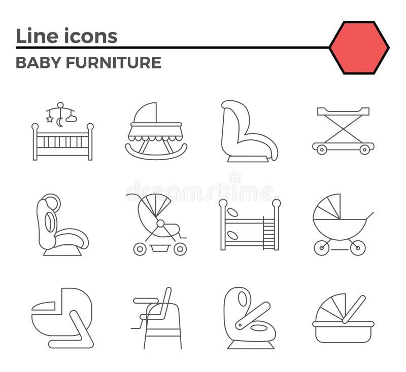 Línea Iconos De Los Muebles Del Bebé Ilustración del Vector ...
