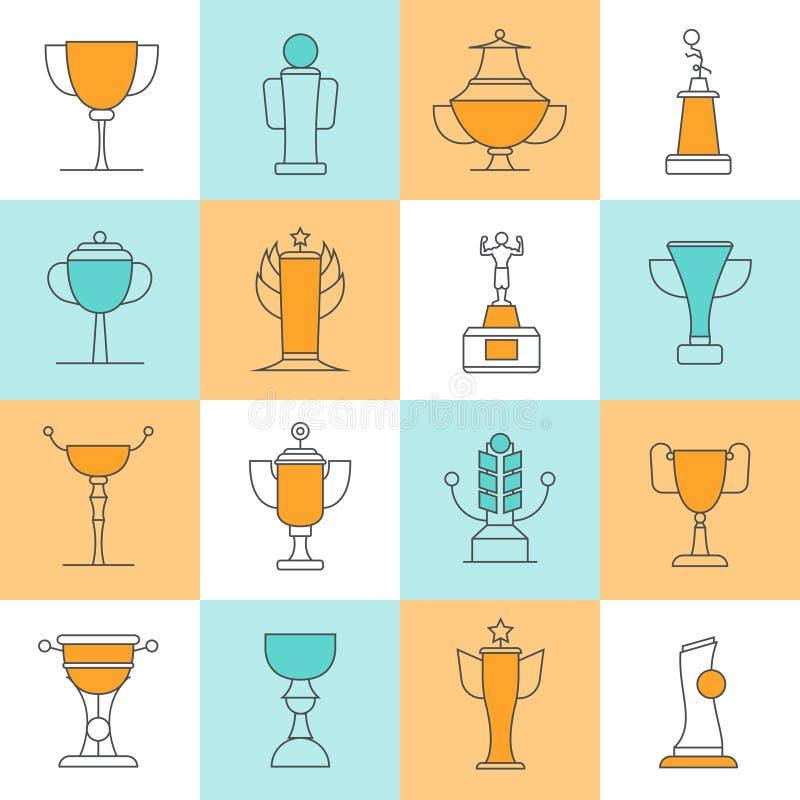 Línea iconos de los premios fijados ilustración del vector