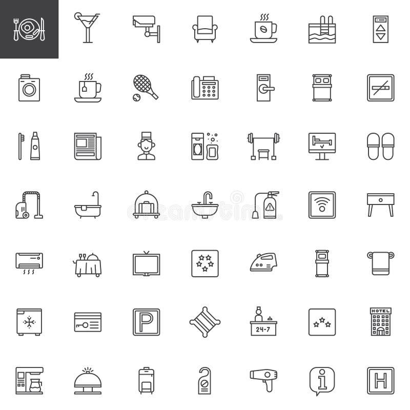 Línea iconos de los servicios y de las instalaciones de hotel fijados stock de ilustración