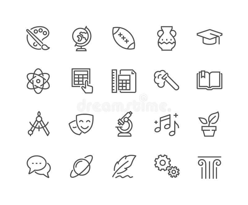 Línea iconos de los temas de escuela libre illustration