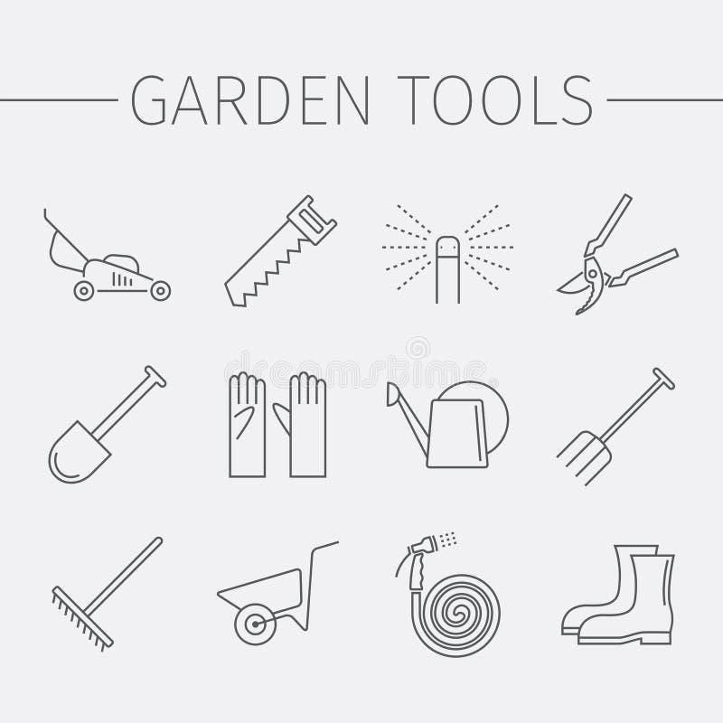 Línea iconos de los utensilios de jardinería fijados stock de ilustración
