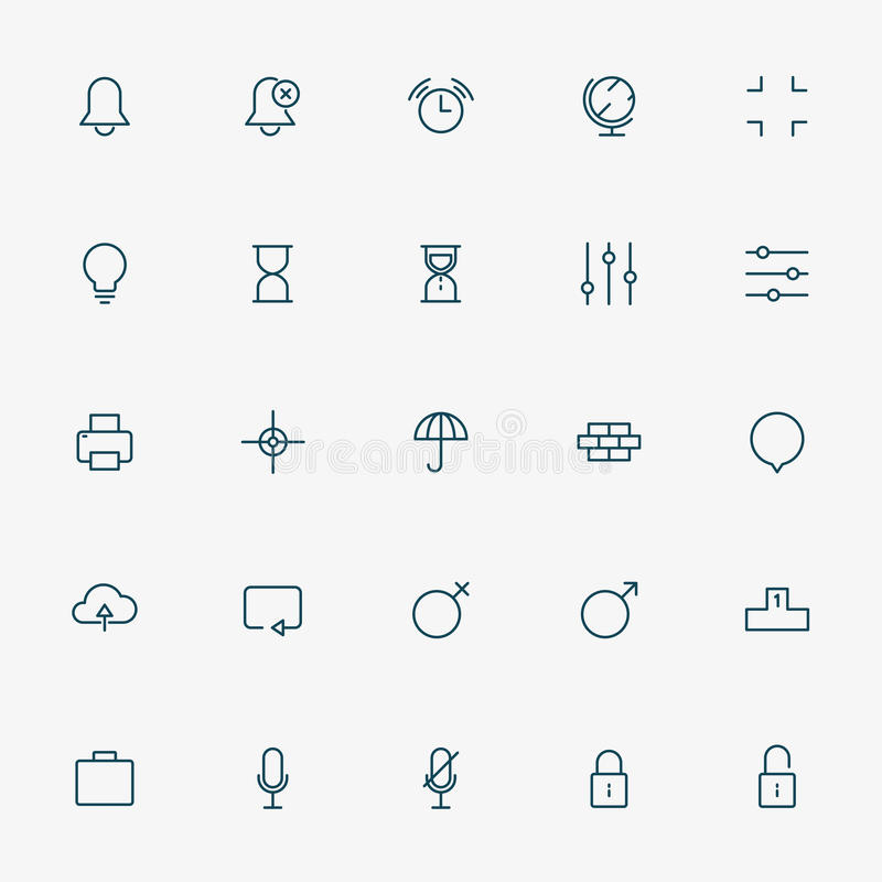 línea iconos de 25 web en el fondo blanco stock de ilustración