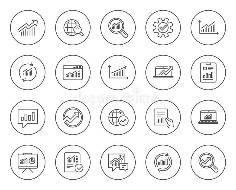 Línea iconos del análisis Cartas, informes y gráficos stock de ilustración