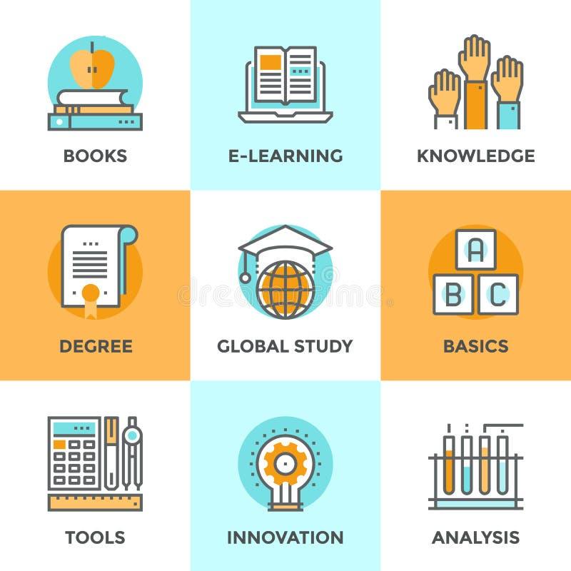 Línea iconos del aprendizaje electrónico fijados libre illustration