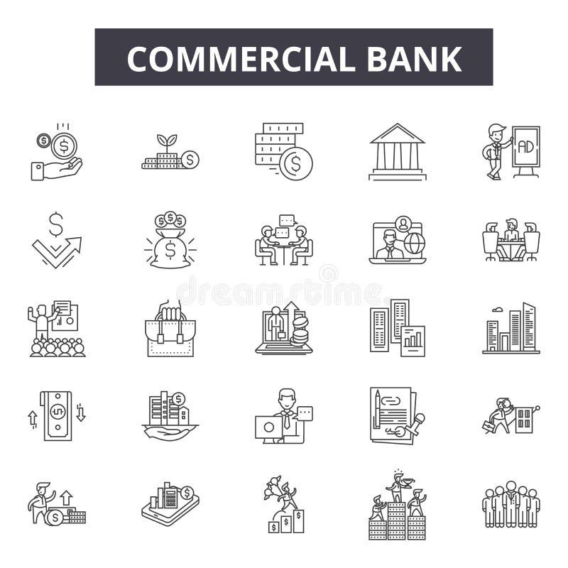 Línea iconos del banco comercial para la web y el diseño móvil Muestras Editable del movimiento Concepto del esquema del banco co libre illustration