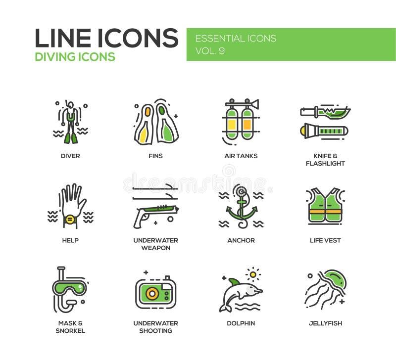 Línea iconos del buceo con escafandra del diseño fijados libre illustration