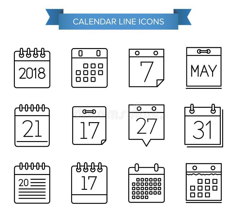 Línea iconos del calendario foto de archivo libre de regalías
