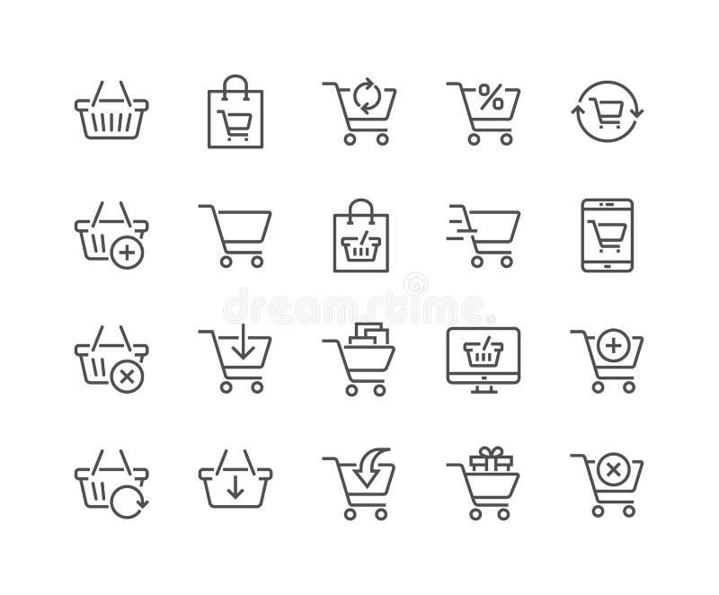 Línea iconos del carro de la compra libre illustration