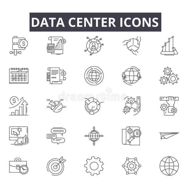Línea iconos del centro de datos para la web y el diseño móvil Muestras Editable del movimiento Ejemplos del concepto del esquema libre illustration