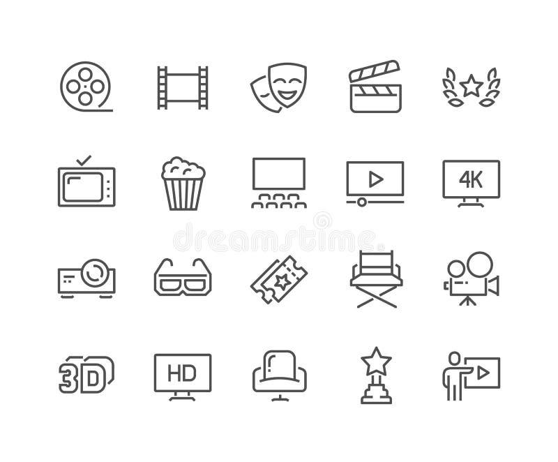 Línea iconos del cine ilustración del vector