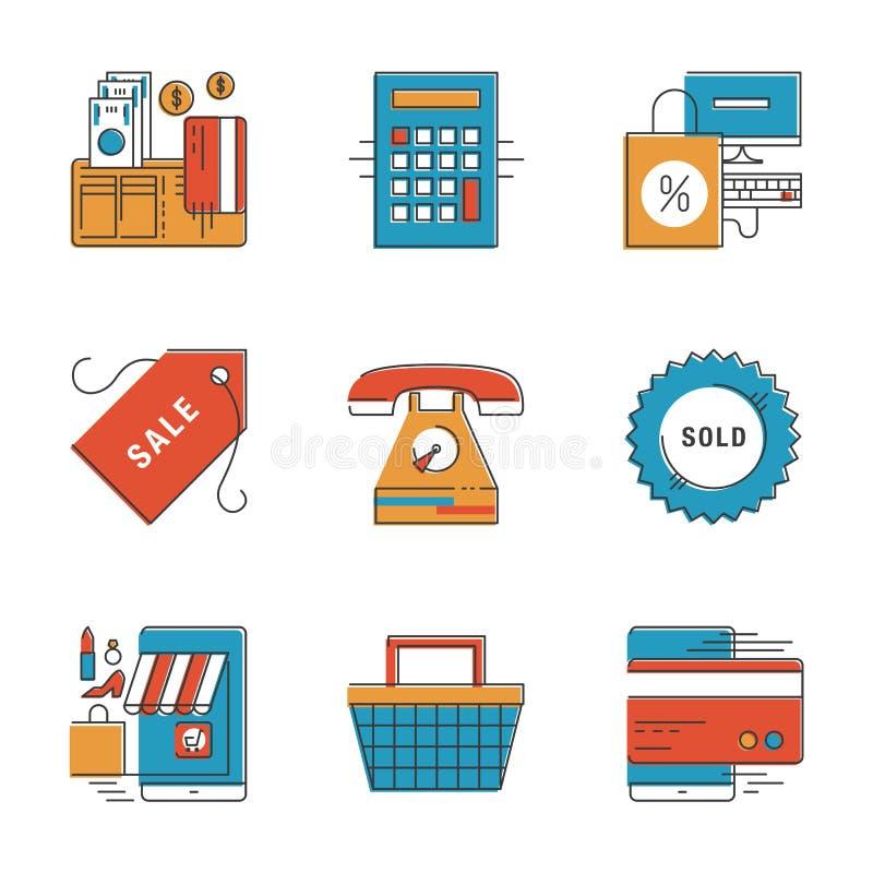Línea iconos del comercio electrónico y de las finanzas fijados ilustración del vector
