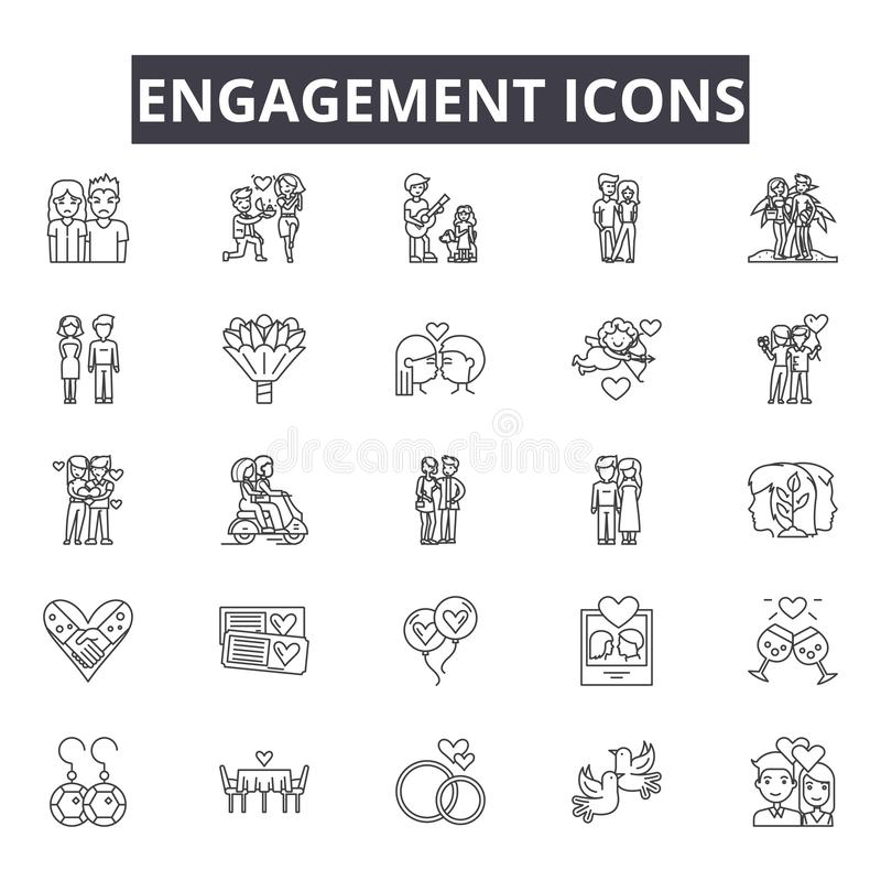 Línea iconos del compromiso para la web y el diseño móvil Muestras Editable del movimiento Ejemplos del concepto del esquema del  stock de ilustración