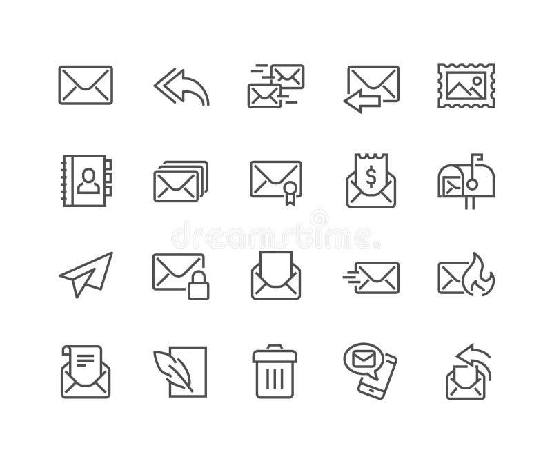 Línea iconos del correo stock de ilustración