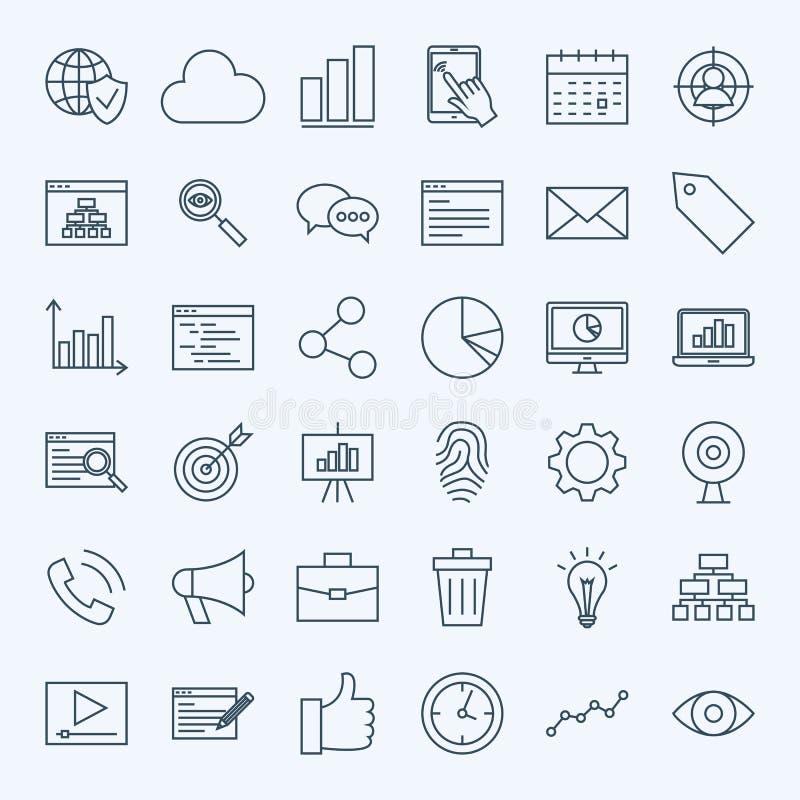 Línea iconos del desarrollo stock de ilustración
