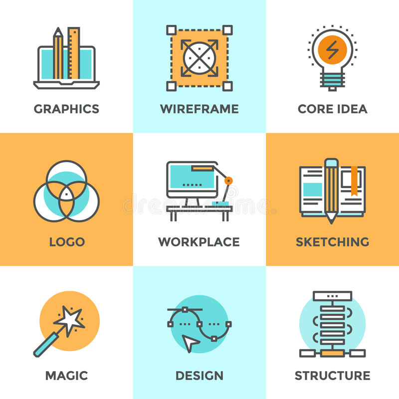 Línea iconos del desarrollo del diseño fijados ilustración del vector