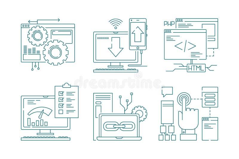 Línea iconos del desarrollo web Sitio web del código del diseño web móvil de la disposición de Seo y app de proceso creativos par ilustración del vector
