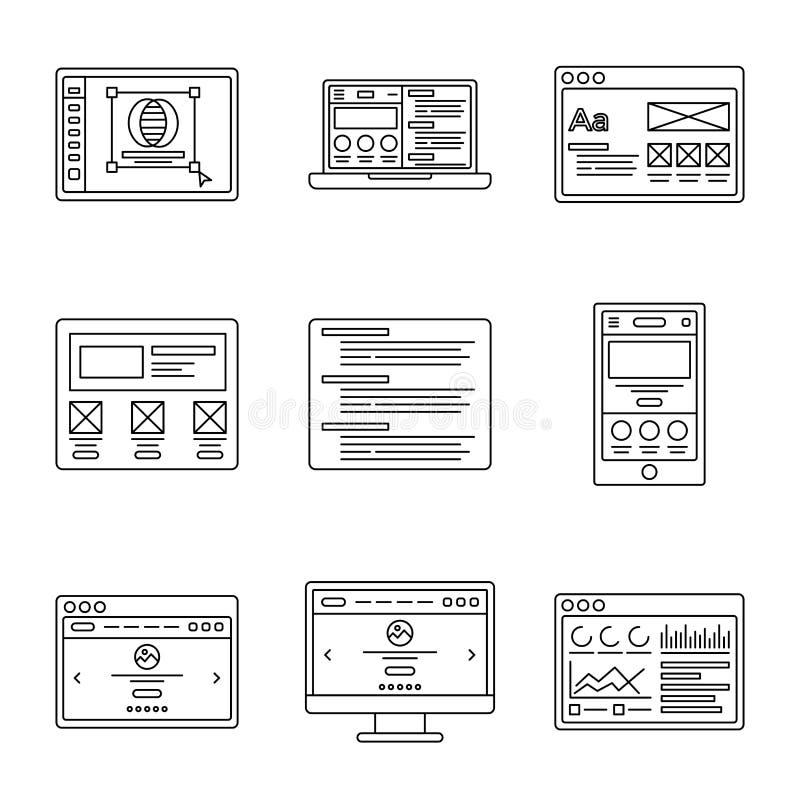 Línea iconos del desarrollo web y de los wireframes fijados Colección de ejemplos del esquema para la plantilla del sitio web o d ilustración del vector